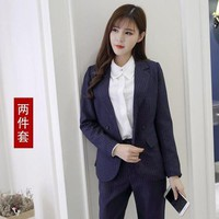 DCCKON3 Womens business suit ladies suit stripes  Women ol professional suit two piece sets