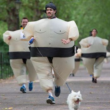 Adults Inflatable Airsuit Sumo Suits Wrestler Costume Fat Man Woman Airblown Sumo Run Color Run Marathon Cosplay Purim Halloween