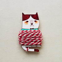 Handmade Cat Thread Holder with 2 Meter Bakers Twine - Shrink Plastic Thread Holder