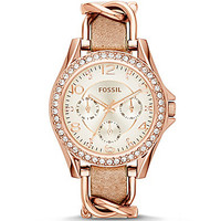 Fossil Ladies' Riley Multifunction Glitz Rose Gold Tone Stainless Stee