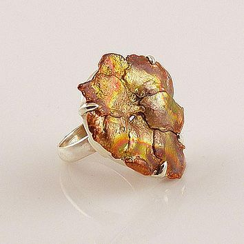Copper Splash Floret Sterling Silver Artisan Ring