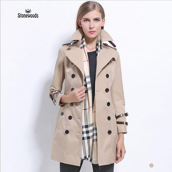 British Style European Trench Coat Windbreaker Women Long Style Trench Coat Runway 2017 Jaqueta Feminina peacoat women coats