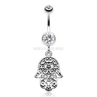 Floral Filigree Hamsa Belly Button Ring (Clear)