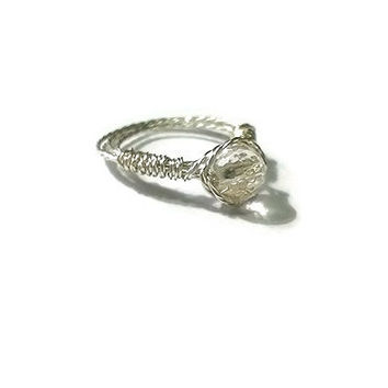 925 Sterling Silver Braided Wire Wrapped Crystal Quartz Ring Clear Crystal Quartz Ring Wire Wrapped Ring Energy Ring Healing...