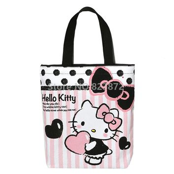 Kawaii Cute Hello Kitty Cat Canvas Shoulder Bag Reusable Shopping Bag Zipper Cartoon School Book Bags for Girls Women Handbag