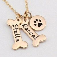Personalized Name Dog Paw Necklace