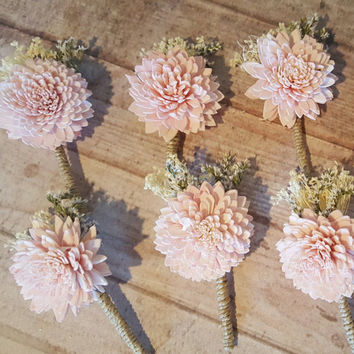 Blush or Slate Dusty Blue Boutonniere or Corsage Wedding Sola Flowers and dried Flowers Keepsake wood Flowers Bouquets Marsala Wine