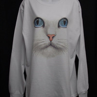 Cat face print on Long Sleeve T Shirt. This is a great looking Cat Shirt. Sizes Small - X Large