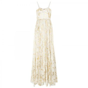 Yarra gold appliqué chiffon maxi dress