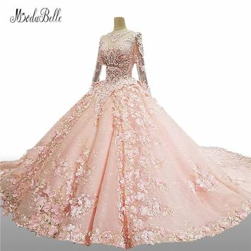 modabelle Princess Pink Ball Gown Crystal Luxury Wedding Dress With Sleeves 2017 3D Flowers Vestido Novia Lace Wedding Gowns