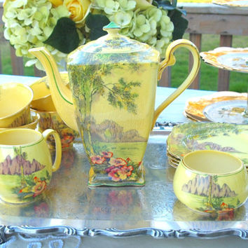 Royal Winton Grimwades Art Deco Tea Set - Teapot Creamer and Sugar Teacup and Dessert Plate Set Hand Painted Yellow and Green - England