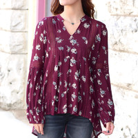 Just For Me Floral Blouse {Burgundy Mix}