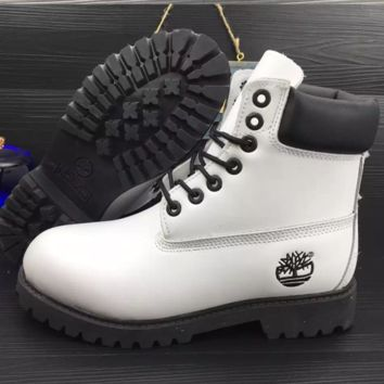 1eb35ade5649 Timberland Rhubarb boots for men and women shoes waterproof Martin boots  lovers White-black
