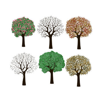 6 Digital Scrapbooking 4 Seasons Trees, Tree Clipart, Nature Clip Art, Snowy Trees, Fall Winter, Spring Summer Fall, Commercial Use
