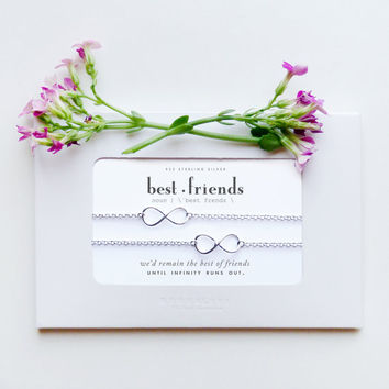 Bestfriends | 2 Sterling Silver Infinty Bracelet Set | Quote Poem Message Card | Friendship Best Friend Long Distance Miss You Birthday Gift