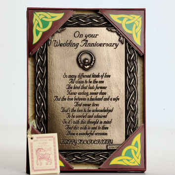 Wedding Anniversary Parent Present Gift Bronze Plaque Husband Wife Mother Father, Wall Plaque, Bronze, Birthday Gift ,Anniversary Blessing