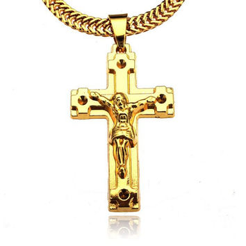 Gold Plated Jesus Cross Pendant Metal Long Chain Necklace
