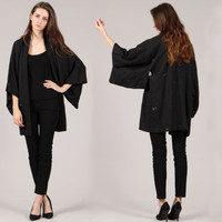 vintage black kimono // metallic floral leaf print // hippie boho // huge draped sleeves // tie // small medium large