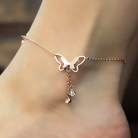 Sexy Stylish Ladies Jewelry Cute Gift Shiny New Arrival Butterfly Tassels Titanium Anklet [8169867271]