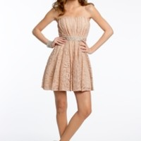Strapless Lace Dress with Satin Tie Back