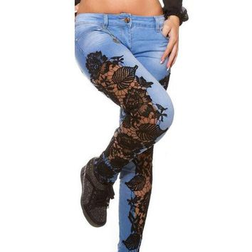 VONE2B5 2XL 3XL Skinny Jeans Woman Lace Patchwork Stretchy Autumn Denim Pants Women Hollow Out Floral Printed Ripped Jeans Mujer Blue