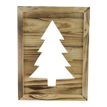 "13.75"" Framed Wood Christmas Tree-Out Wall Hanging Decoration"