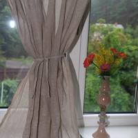 "Linen curtain panel . 60"" x 37"" Grey curtains Natural Linen Curtains"