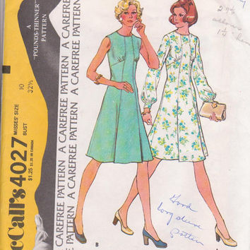 70s vintage pattern for flared, A line dress, sleeveless or long sleeved, empire waist misses size 10 McCalls 4027 CUT and COMPLETE