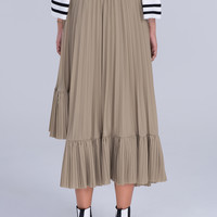 Khaki High Waist Ruffle Asymmetric Hem Pleated Midi Skirt