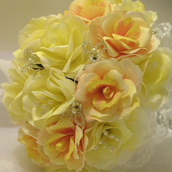 Ready to Ship. Handmade Yellow, Coral, and Pink Paper Flower Wedding Bouquet