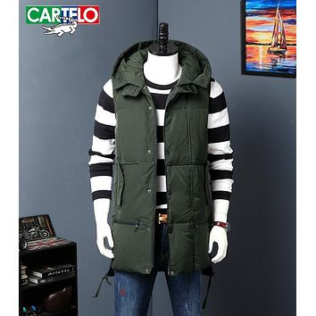 CARTELO High Quality Men white duck down Long Vest Fashion Hooded Slim Fit Sleeveless Coat Male Casual Waistcoat Jacket Clothing