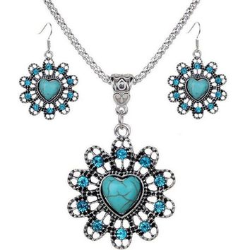 Turquoise Heart and Flower Fashion Bib Necklace and Earrings Jewelry Set