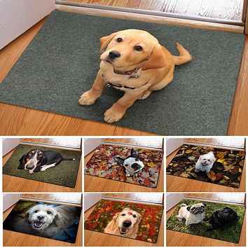 Cute Pet Dog Print Rectangle Bedroom Kitchen Anti-Slip Doormat Modern Home Decor