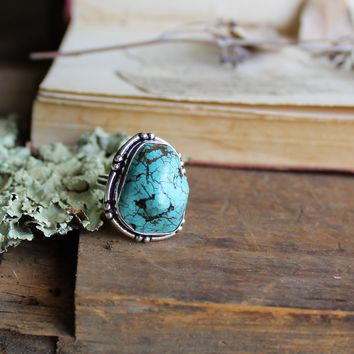 Size 8 - Blue Turquoise Howlite Silvertone Ring