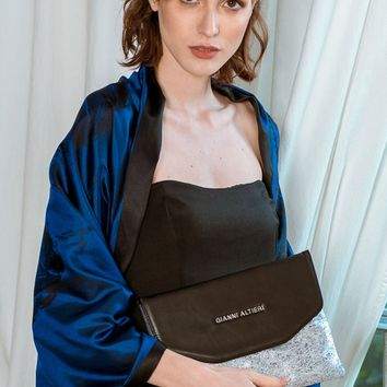 Sabina-Handpainted Silver and Black Evening Clutch