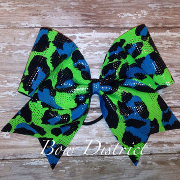 "3"" Neon Green, Blue, and Black Cheetah with Silver Dots Cheer Bow"