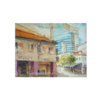 Old and New, old house, skyscrappers, original aceo peinture, watercolor painting, landscape, wall art id1360872, not a print, gift idea