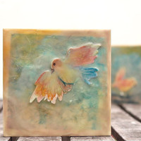 little bird encaustic painting- story book children's art, nursery decor, pastel, for baby