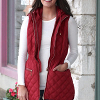Ski Slopes Long, Quilted Puff Vest {Burgundy}