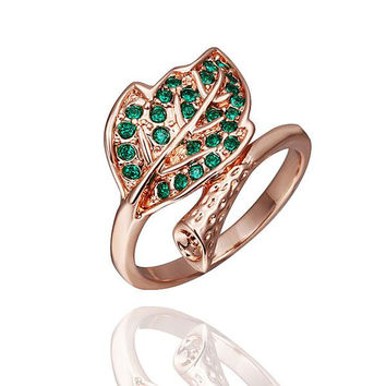 Rose Gold Plated Emerald Twisted Leaf Branch Ring