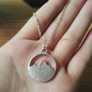 1pcs Tiny Mountain Charm Necklace  Simple Silver Nature Pendant  Nature Lovers Gift Women Girl Best Friend Gift SanLan