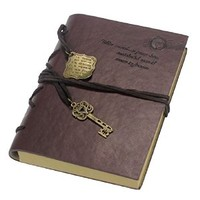 Doinshop Dark Brown Vintage Style Note Book Key String PU Leather Diary Book