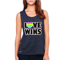 Zexpa Apparel™ Love Wins - Love is Love Gay is Good Women's Muscle Tee Gay Pride Sleeveless