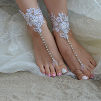 barefoot sandals, ivory Beach wedding shoes, bangle beach anklets, barefoot sandals, bridal bride bridesmaid, Free ship