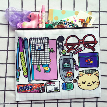 "bag ""life with stuff"" 10x8 cosmetic or pencil pouch"