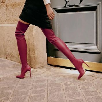 Patent Leather Pointed Toe Over Knee Boots