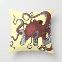 Octopus Throw Pillow by Amanda James | Society6