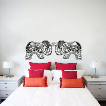 Wall Decal Vinyl Sticker Decals Art Home Decor Design Murals Indian Elephant Floral Patterns Mandala Tribal Love Ganesh Bedroom Dorm AN459