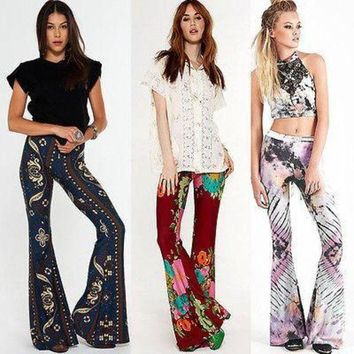 LMFG8W Stylish Womens Flared Legged Palazzo Bell Bottom Boho Pants Stretch High Waist