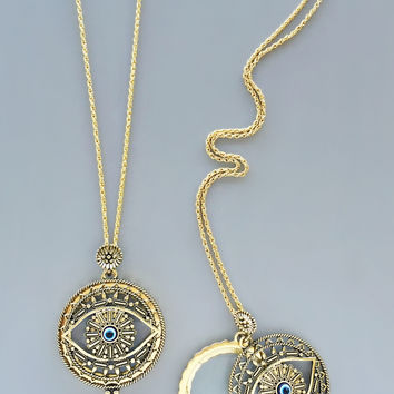 Antique Looking Glass Evil Eye Necklace